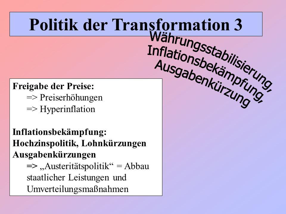 Politik der Transformation 3 Freigabe der Preise: => Preiserhöhungen => Hyperinflation Inflationsbekämpfung: Hochzinspolitik, Lohnkürzungen Ausgabenkü