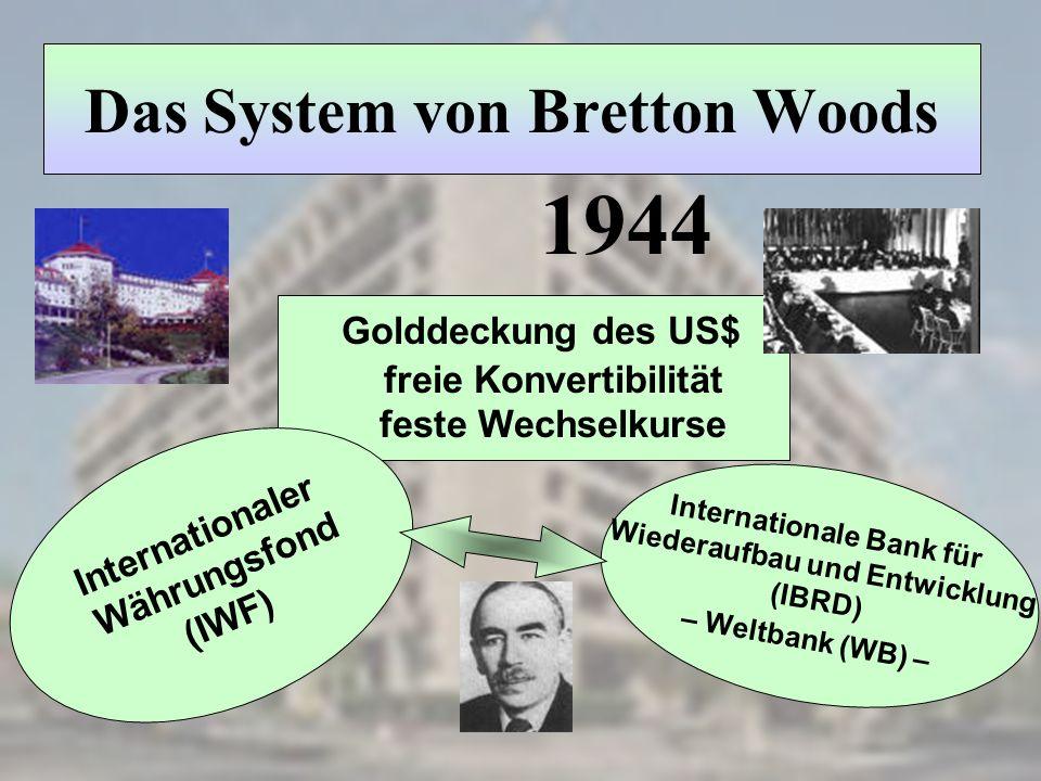Internationale Bank für Wiederaufbau und Entwicklung (IBRD) – Weltbank (WB) – Das System von Bretton Woods Golddeckung des US$ freie Konvertibilität f