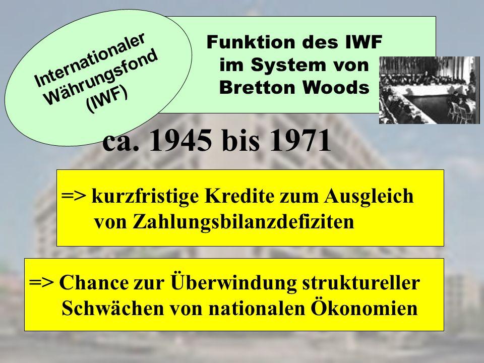 Funktion des IWF im System von Bretton Woods Internationaler Währungsfond (IWF) => kurzfristige Kredite zum Ausgleich von Zahlungsbilanzdefiziten => C