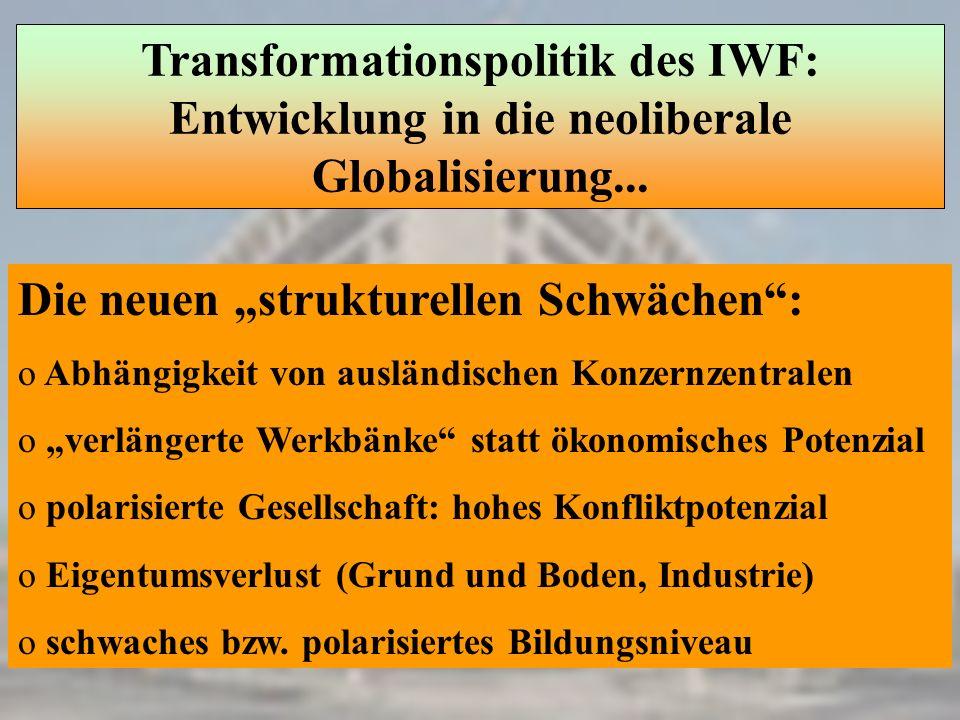 Transformationspolitik des IWF: Entwicklung in die neoliberale Globalisierung... Die neuen strukturellen Schwächen: o Abhängigkeit von ausländischen K
