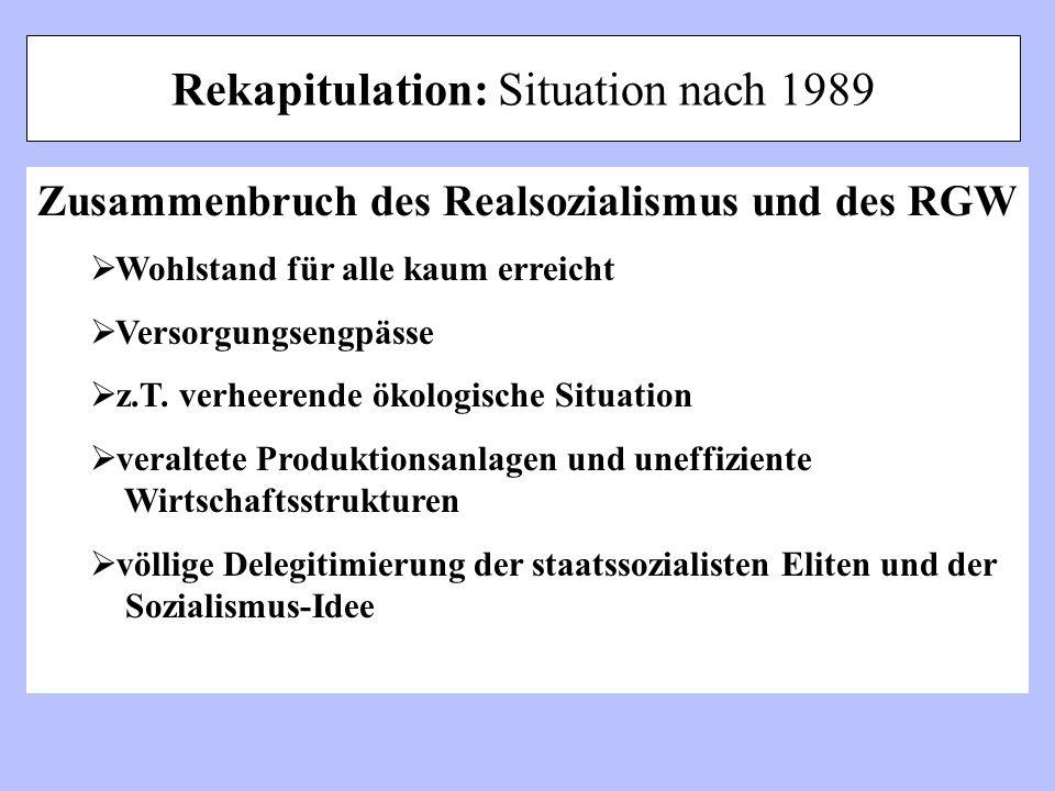 Rekapitulation: Situation nach 1989 Zusammenbruch des Realsozialismus und des RGW Wohlstand für alle kaum erreicht Versorgungsengpässe z.T. verheerend
