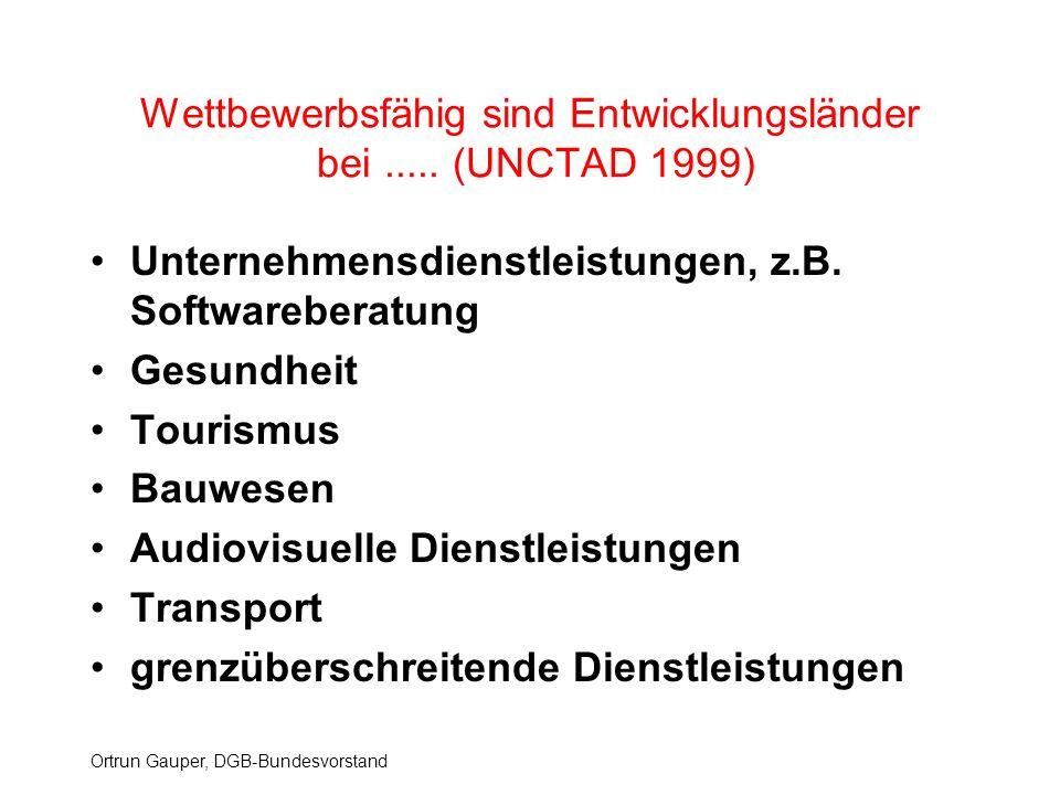Ortrun Gauper, DGB-Bundesvorstand Wettbewerbsfähig sind Entwicklungsländer bei..... (UNCTAD 1999) Unternehmensdienstleistungen, z.B. Softwareberatung