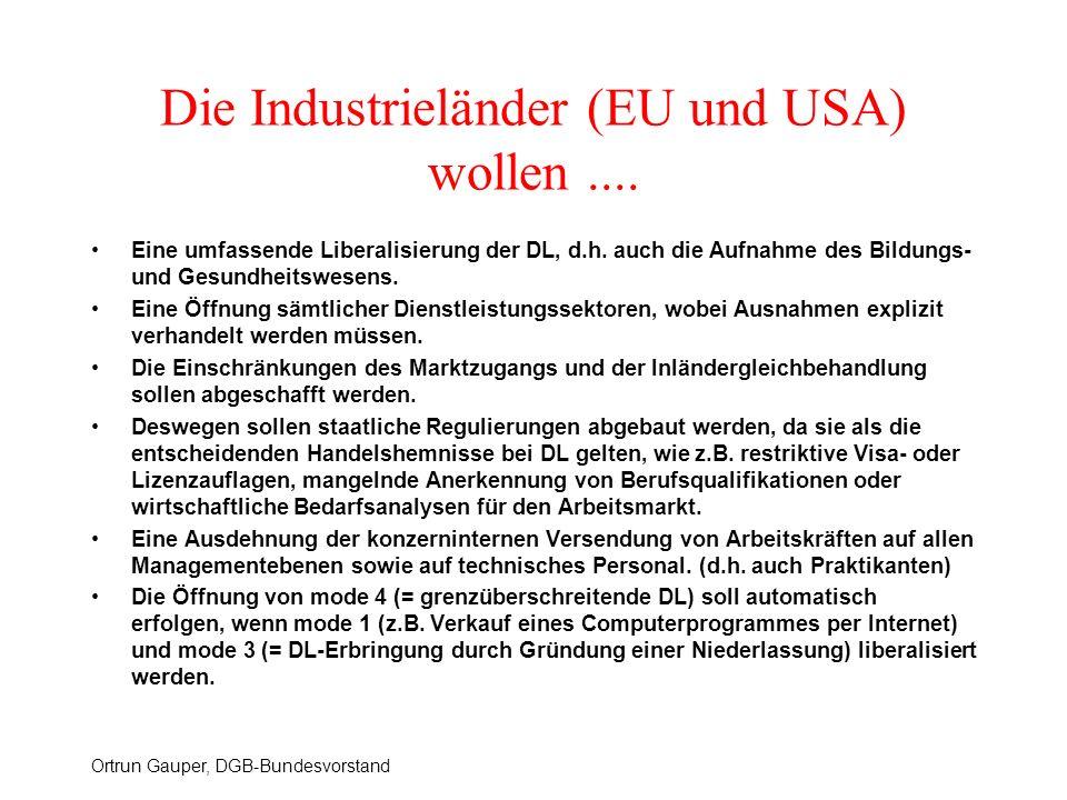 Ortrun Gauper, DGB-Bundesvorstand Die Industrieländer (EU und USA) wollen.... Eine umfassende Liberalisierung der DL, d.h. auch die Aufnahme des Bildu
