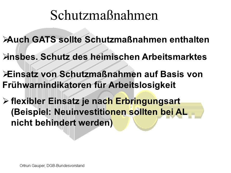 Ortrun Gauper, DGB-Bundesvorstand Schutzmaßnahmen flexibler Einsatz je nach Erbringungsart (Beispiel: Neuinvestitionen sollten bei AL nicht behindert