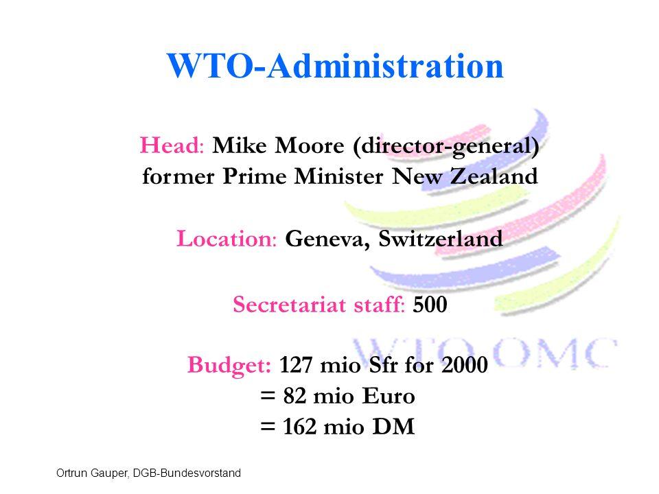 Ortrun Gauper, DGB-Bundesvorstand Location: Geneva, Switzerland Budget: 127 mio Sfr for 2000 = 82 mio Euro = 162 mio DM Head: Mike Moore (director-gen