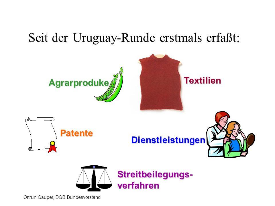 Ortrun Gauper, DGB-Bundesvorstand Seit der Uruguay-Runde erstmals erfaßt: Agrarproduke Textilien Patente Streitbeilegungs- verfahren Dienstleistungen