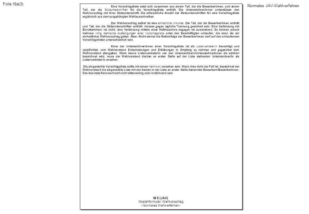 Eine Vorschlagsliste setzt sich zusammen aus einem Teil, der die Bewerber/innen, und einem Teil, der die Stützunterschriften für die Vorschlagsliste e
