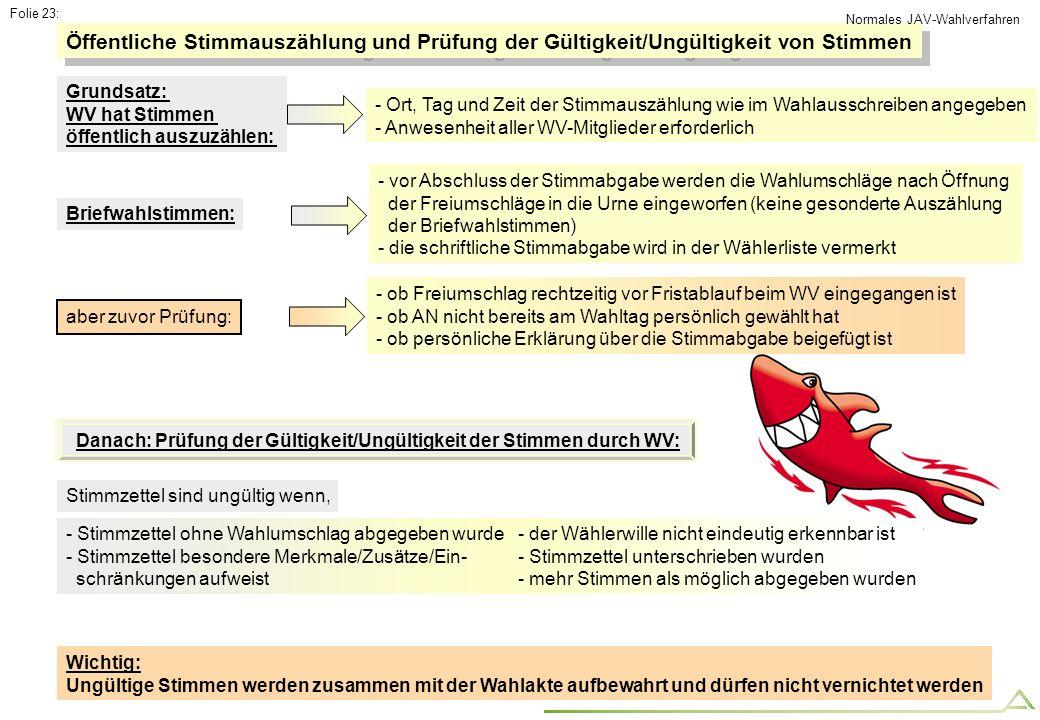 Folie 23: - Stimmzettel ohne Wahlumschlag abgegeben wurde - Stimmzettel besondere Merkmale/Zusätze/Ein- schränkungen aufweist Öffentliche Stimmauszähl