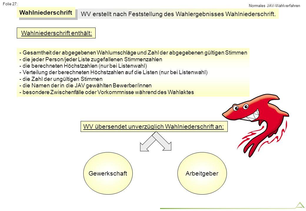 Folie 27: Wahlniederschrift WV erstellt nach Feststellung des Wahlergebnisses Wahlniederschrift. Wahlniederschrift enthält: - Gesamtheit der abgegeben