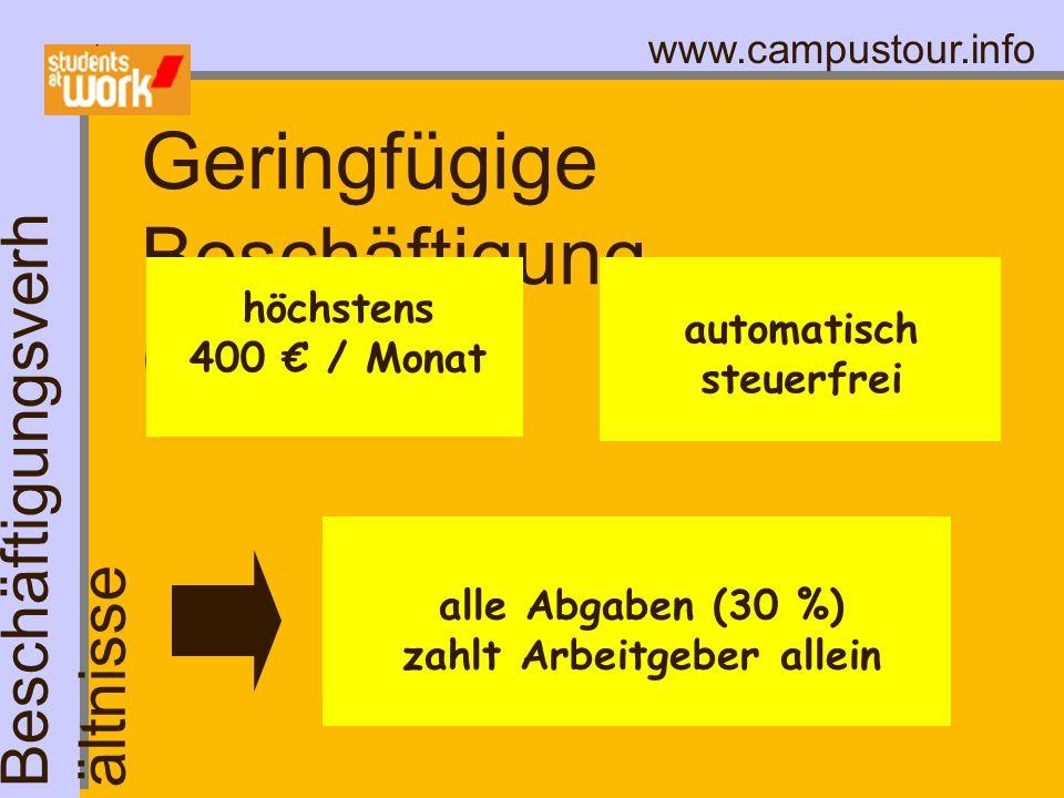 www.campustour.info Geringfügige Beschäftigung (Minijob) höchstens 400 / Monat automatisch steuerfrei Beschäftigungsverh ältnisse alle Abgaben (30 %)