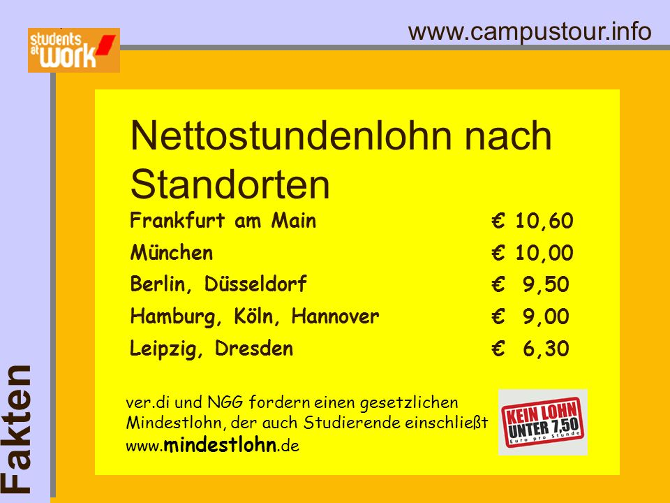 www.campustour.info Frankfurt am Main München Berlin, Düsseldorf Hamburg, Köln, Hannover Leipzig, Dresden Fakten Nettostundenlohn nach Standorten 10,6