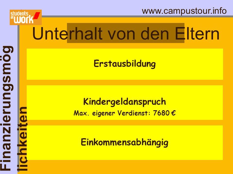 www.campustour.info Unterhalt von den Eltern Finanzierungsmög lichkeiten Erstausbildung Einkommensabhängig Kindergeldanspruch Max. eigener Verdienst: