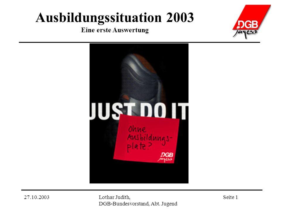 Ausbildungssituation 2003 Eine erste Auswertung Seite 127.10.2003Lothar Judith, DGB-Bundesvorstand, Abt.