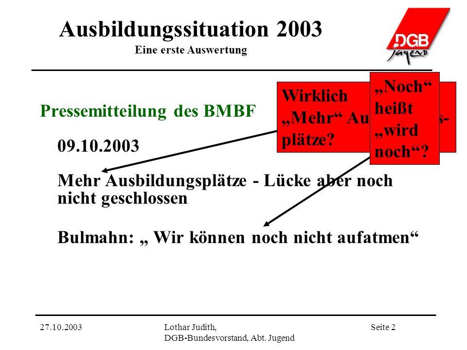 Ausbildungssituation 2003 Eine erste Auswertung Seite 227.10.2003Lothar Judith, DGB-Bundesvorstand, Abt.