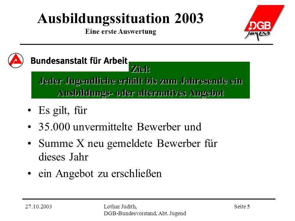 Ausbildungssituation 2003 Eine erste Auswertung Seite 527.10.2003Lothar Judith, DGB-Bundesvorstand, Abt.