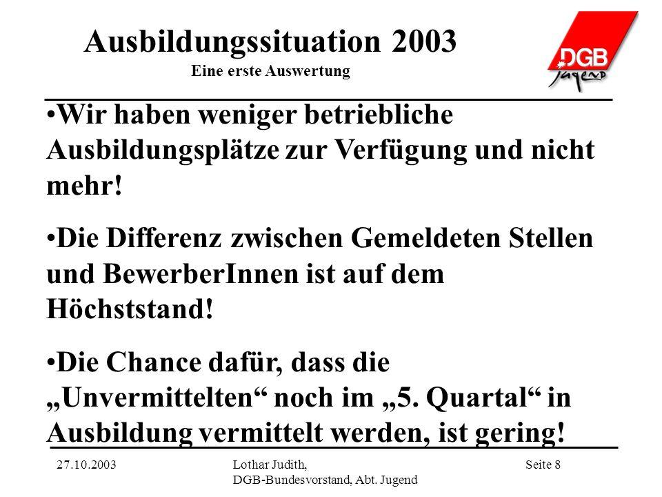 Ausbildungssituation 2003 Eine erste Auswertung Seite 827.10.2003Lothar Judith, DGB-Bundesvorstand, Abt.