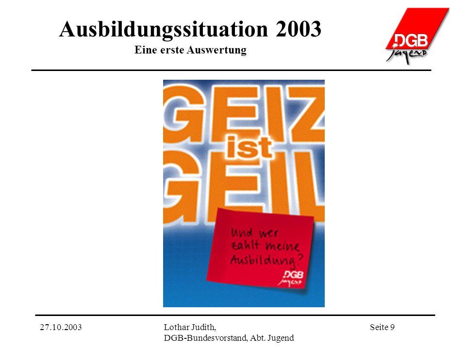 Ausbildungssituation 2003 Eine erste Auswertung Seite 927.10.2003Lothar Judith, DGB-Bundesvorstand, Abt.