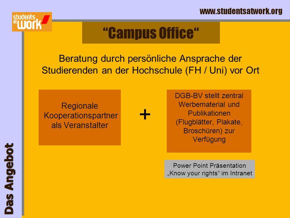 www.studentsatwork.org Das Angebot Die Online-Beratung 2 Tage Bearbeitungszeit durchschnittlich 25 Anfragen pro Woche