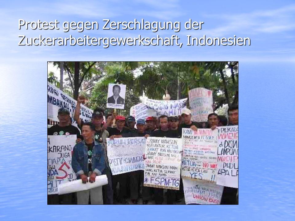 Protest gegen Zerschlagung der Zuckerarbeitergewerkschaft, Indonesien