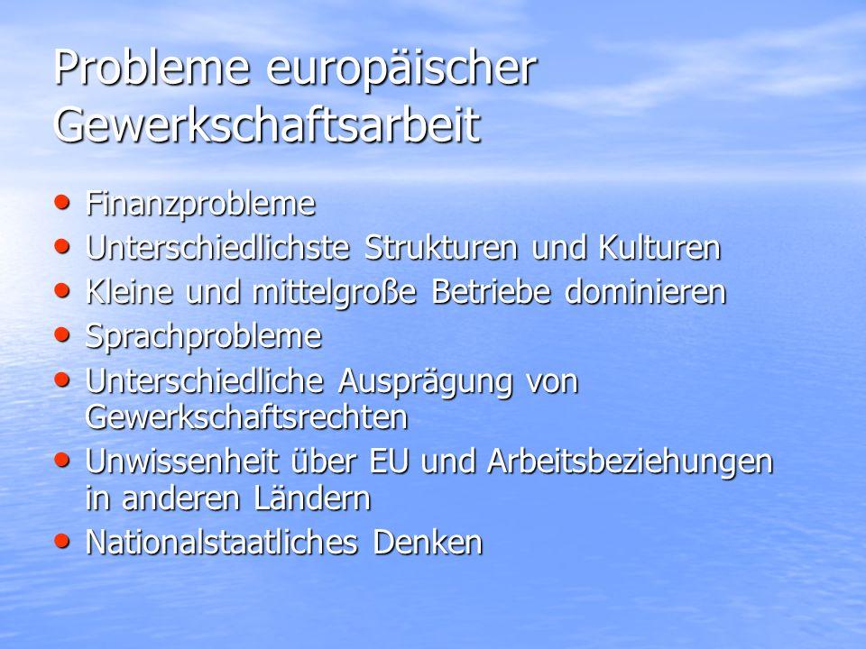 Probleme europäischer Gewerkschaftsarbeit Finanzprobleme Finanzprobleme Unterschiedlichste Strukturen und Kulturen Unterschiedlichste Strukturen und K