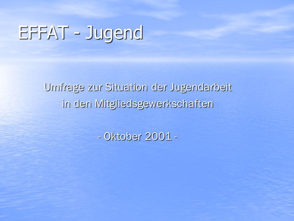 EFFAT - Jugend Umfrage zur Situation der Jugendarbeit in den Mitgliedsgewerkschaften - Oktober 2001 -