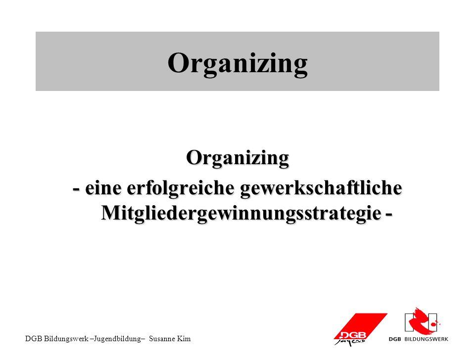 DGB Bildungswerk –Jugendbildung– Susanne Kim Organizing Organizing - eine erfolgreiche gewerkschaftliche Mitgliedergewinnungsstrategie -