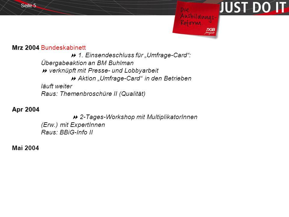 Seite 5 Mrz 2004 Apr 2004 Mrz 2004Bundeskabinett 1. Einsendeschluss für Umfrage-Card: Übergabeaktion an BM Buhlman verknüpft mit Presse- und Lobbyarbe