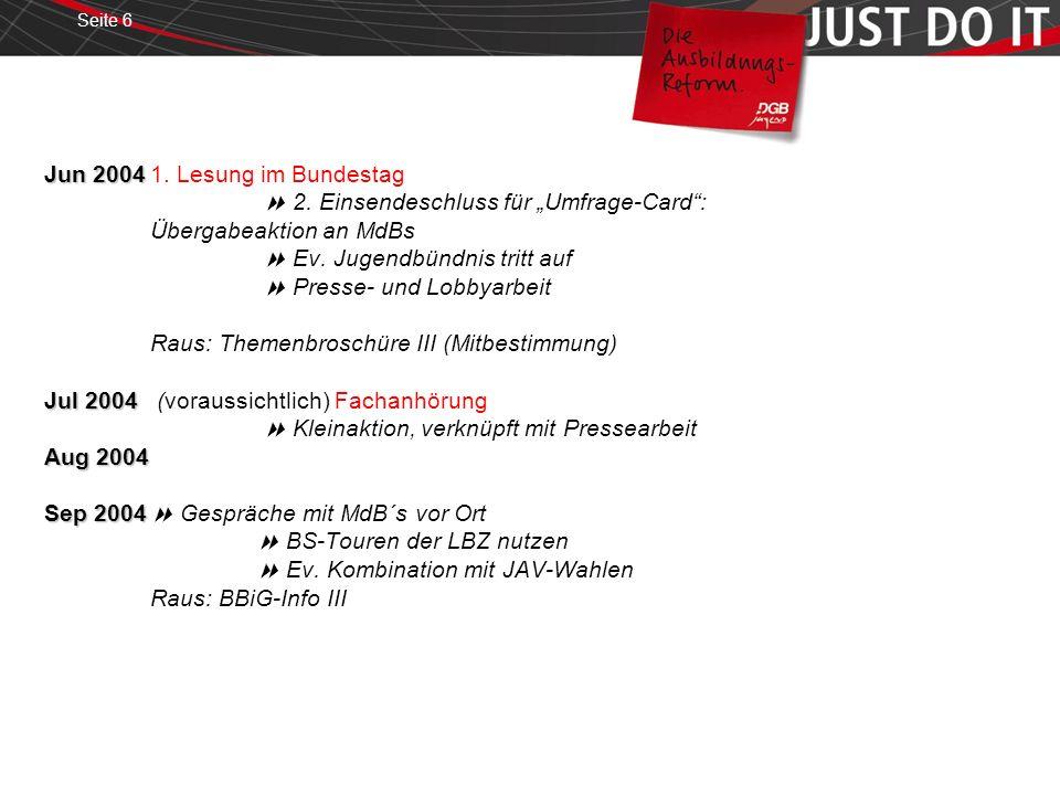 Seite 6 Jun 2004 Jul 2004 Aug 2004 Sep 2004 Jun 20041. Lesung im Bundestag 2. Einsendeschluss für Umfrage-Card: Übergabeaktion an MdBs Ev. Jugendbündn