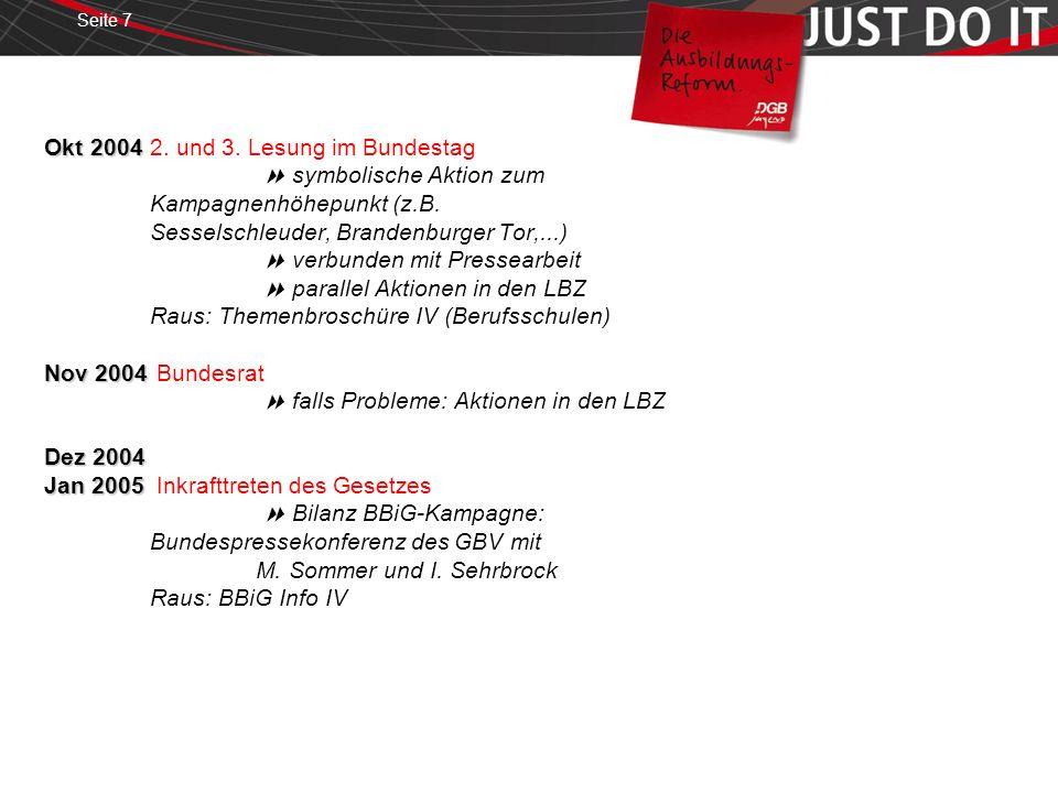 Seite 7 Okt 2004 Nov 2004 Dez 2004 Jan 2005 Okt 20042. und 3. Lesung im Bundestag symbolische Aktion zum Kampagnenhöhepunkt (z.B. Sesselschleuder, Bra