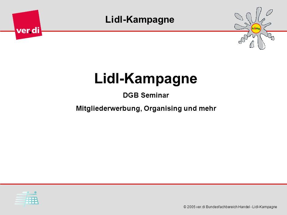 Lidl-Kampagne © 2005 ver.di Bundesfachbereich Handel - Lidl-Kampagne Lidl-Kampagne DGB Seminar Mitgliederwerbung, Organising und mehr
