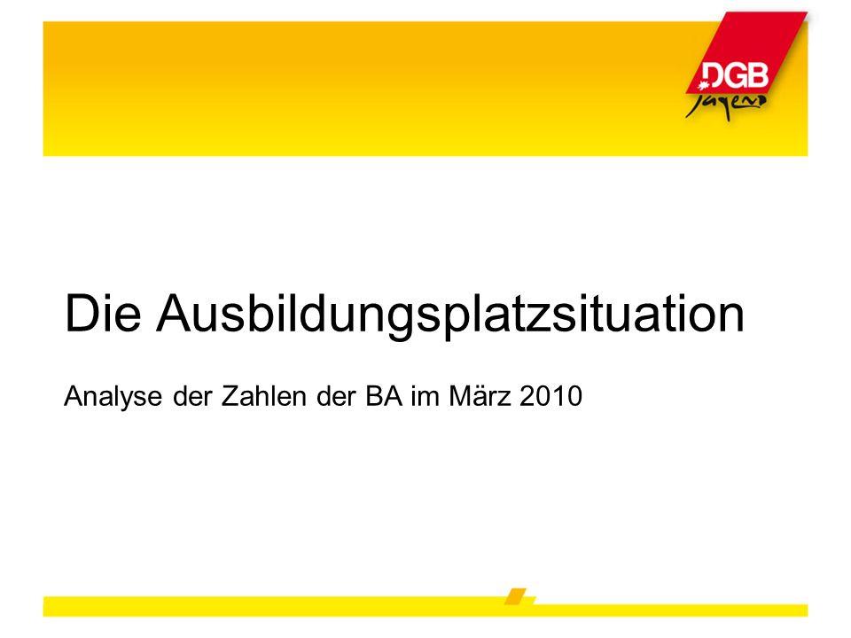 Die Ausbildungsplatzsituation Analyse der Zahlen der BA im März 2010