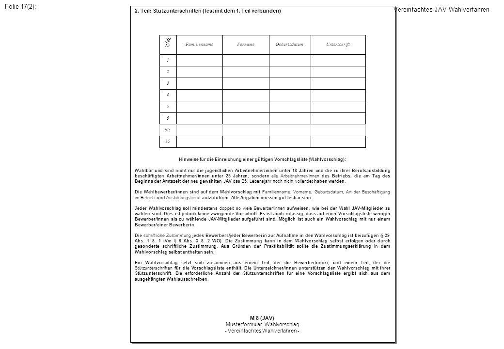 2. Teil: Stützunterschriften (fest mit dem 1. Teil verbunden) Hinweise für die Einreichung einer gültigen Vorschlagsliste (Wahlvorschlag): Wählbar und