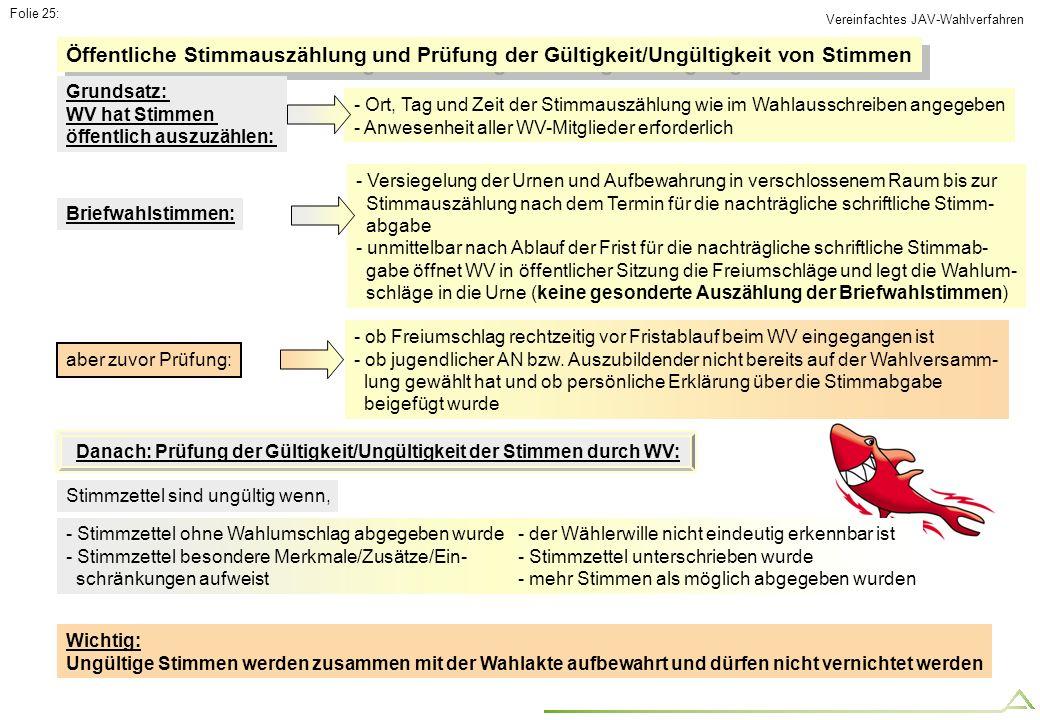 Folie 25: - Stimmzettel ohne Wahlumschlag abgegeben wurde - Stimmzettel besondere Merkmale/Zusätze/Ein- schränkungen aufweist Öffentliche Stimmauszähl