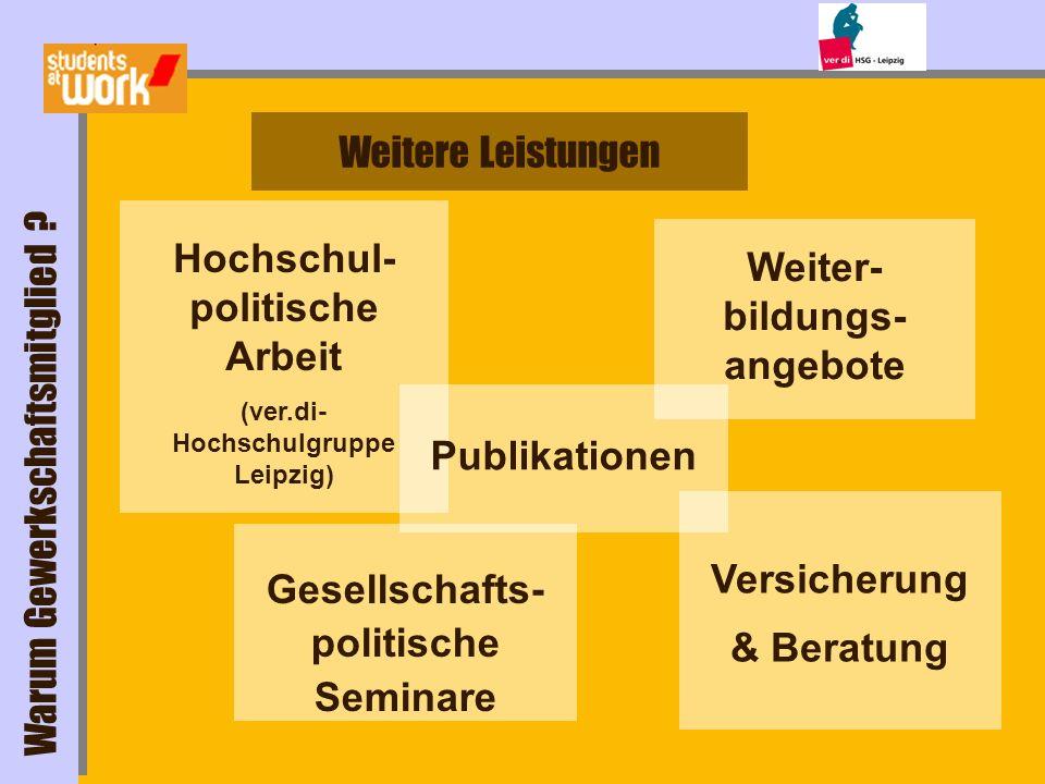 Hochschul- politische Arbeit (ver.di- Hochschulgruppe Leipzig) Gesellschafts- politische Seminare Versicherung & Beratung Weitere Leistungen Warum Gew