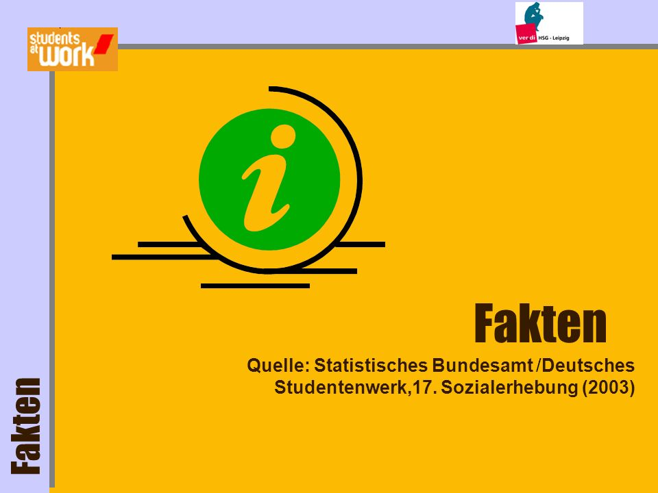 Fakten Studierende in Deutschland... davon arbeiten ~2 Mio. 68% (~1,4 Mio.) davon Vollzeit: 27%