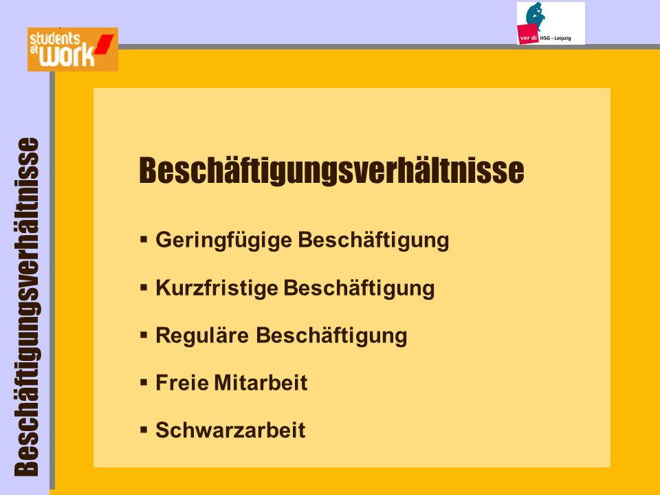 Geringfügige Beschäftigung (Minijob) höchstens 400 / Monat automatisch steuerfrei Beschäftigungsverhältnisse alle Abgaben (25/ 30%) zahlt Arbeitgeber allein www.minijob-zentrale.de