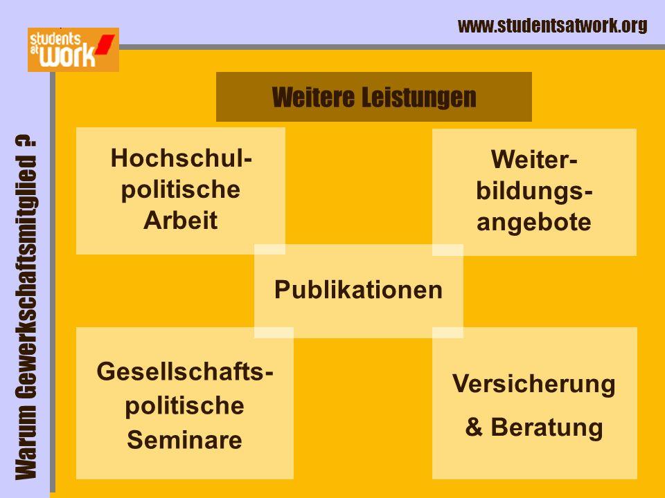 www.studentsatwork.org Hochschul- politische Arbeit Gesellschafts- politische Seminare Versicherung & Beratung Weitere Leistungen Warum Gewerkschaftsm