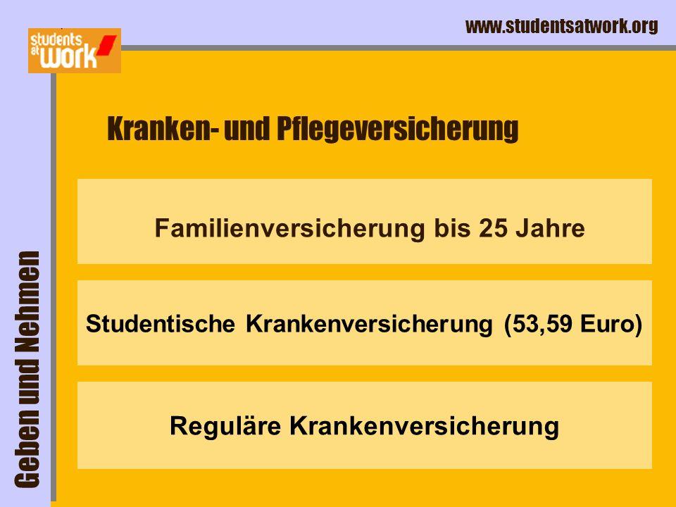 www.studentsatwork.org Familienversicherung bis 25 Jahre Kranken- und Pflegeversicherung Geben und Nehmen Studentische Krankenversicherung (53,59 Euro) Reguläre Krankenversicherung