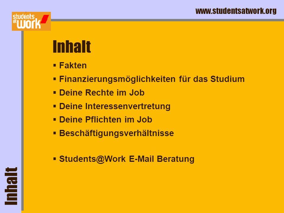 www.studentsatwork.org Job weg, und was jetzt ? Zu guter Letzt