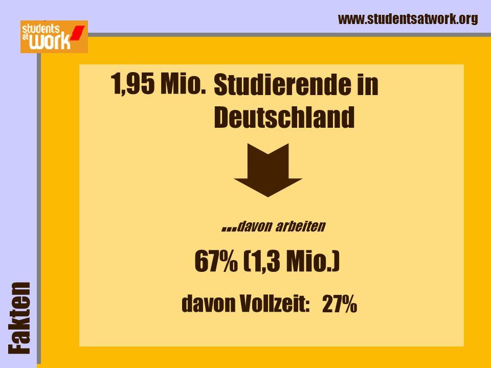 www.studentsatwork.org Fakten Studierende in Deutschland... davon arbeiten 1,95 Mio. 67% (1,3 Mio.) davon Vollzeit: 27%