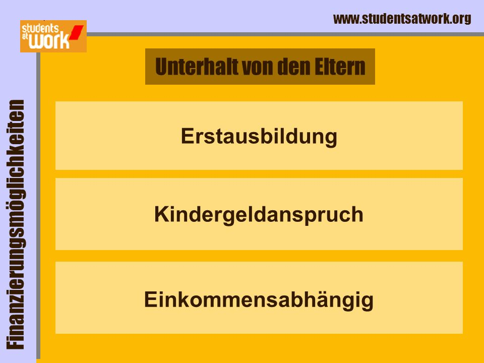 www.studentsatwork.org BAföG Finanzierungsmöglichkeiten elternabhängig www.
