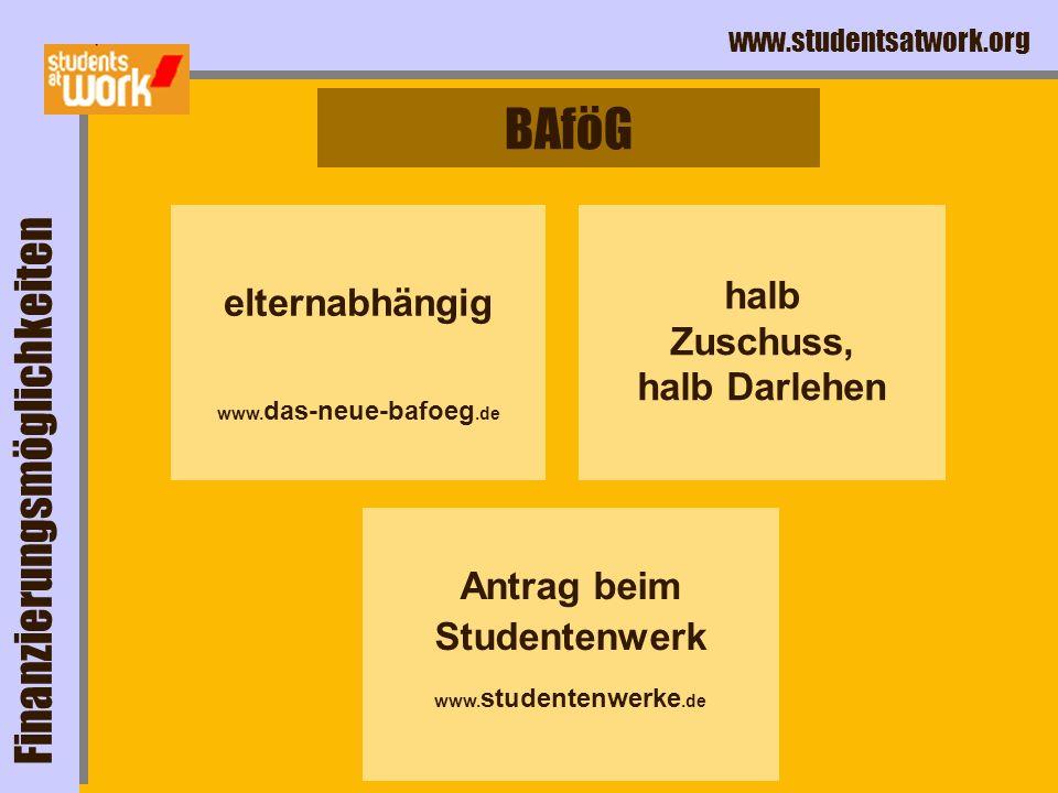 www.studentsatwork.org BAföG Finanzierungsmöglichkeiten elternabhängig www. das-neue-bafoeg.de halb Zuschuss, halb Darlehen Antrag beim Studentenwerk