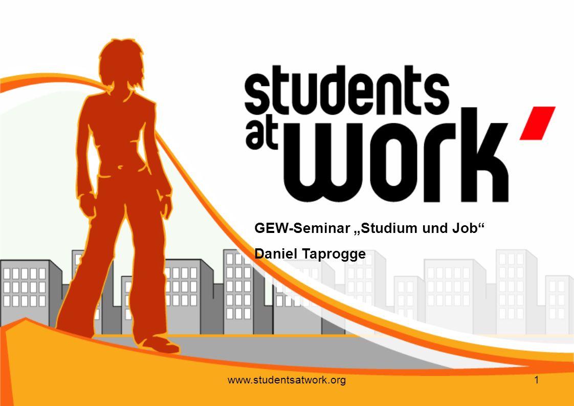 www.studentsatwork.org32 Tarifverträge Definition: Das Tarifvertragssystem ist darauf angelegt, die strukturellen Unterlegenheiten der einzelnen Arbeitnehmer beim Abschluss von Arbeitsverträgen durch kollektives Handeln auszugleichen und damit ein annähernd gleichwertiges Aushandeln der Löhne und Arbeitsbedingungen zu ermöglichen.