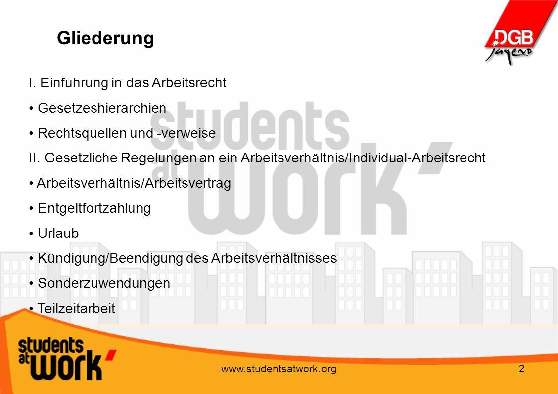 www.studentsatwork.org2 Gliederung I. Einführung in das Arbeitsrecht Gesetzeshierarchien Rechtsquellen und -verweise II. Gesetzliche Regelungen an ein