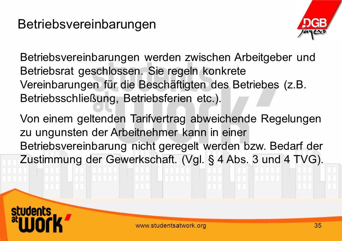 www.studentsatwork.org35 Betriebsvereinbarungen Betriebsvereinbarungen werden zwischen Arbeitgeber und Betriebsrat geschlossen. Sie regeln konkrete Ve