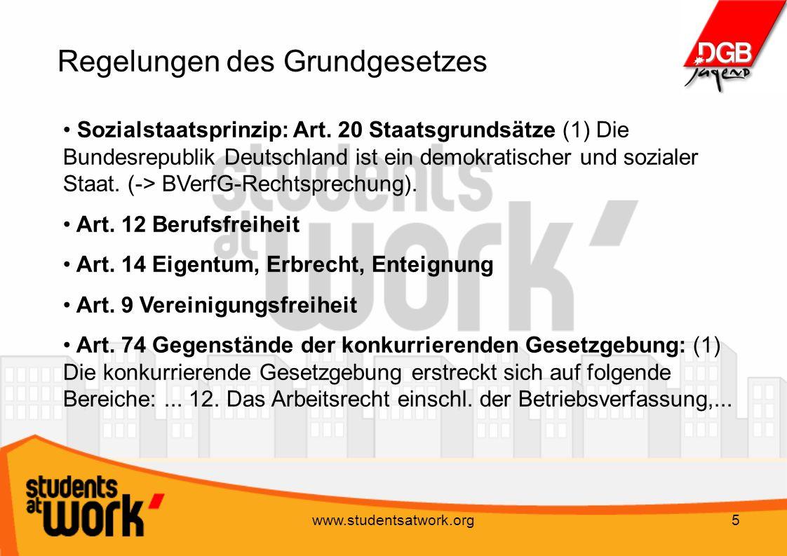 www.studentsatwork.org5 Regelungen des Grundgesetzes Sozialstaatsprinzip: Art. 20 Staatsgrundsätze (1) Die Bundesrepublik Deutschland ist ein demokrat