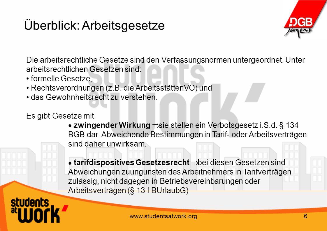 www.studentsatwork.org7 Individual-Arbeitsrecht Das Individual-Arbeitsrecht regelt das Verhältnis zwischen Arbeitgeber und Arbeitnehmer.