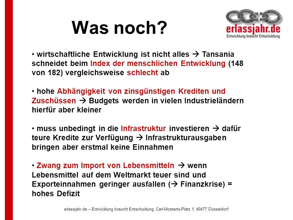 erlassjahr.de – Entwicklung braucht Entschuldung, Carl-Mosterts-Platz 1, 40477 Düsseldorf Was noch? wirtschaftliche Entwicklung ist nicht alles Tansan