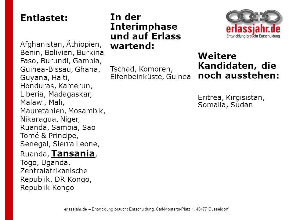erlassjahr.de – Entwicklung braucht Entschuldung, Carl-Mosterts-Platz 1, 40477 Düsseldorf Entlastet: Afghanistan, Äthiopien, Benin, Bolivien, Burkina