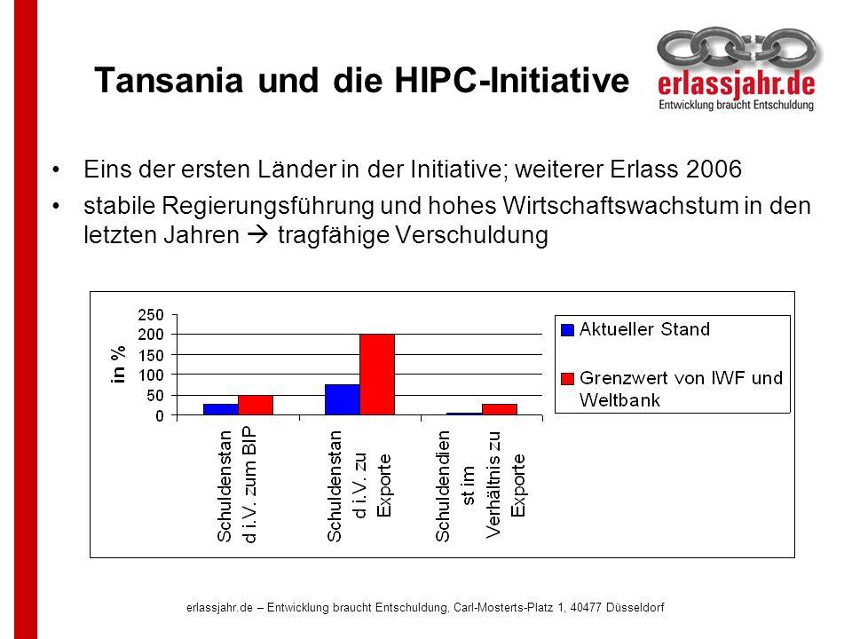 erlassjahr.de – Entwicklung braucht Entschuldung, Carl-Mosterts-Platz 1, 40477 Düsseldorf Tansania und die HIPC-Initiative Eins der ersten Länder in d